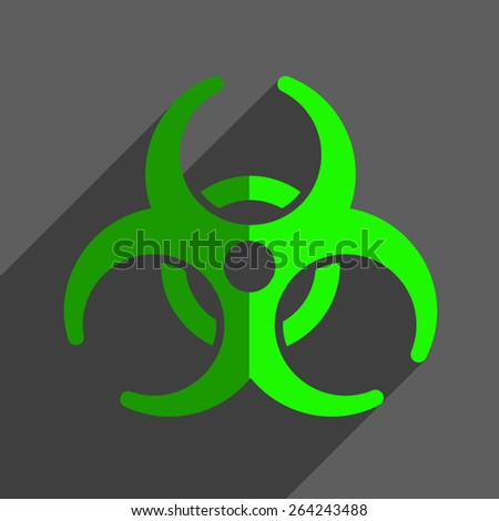 Biohazard flat icon badge and sign with shadow - stock photo