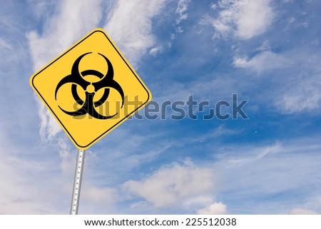 Biohazard or Bio Hazard symbol Road Sign indicating warning - stock photo