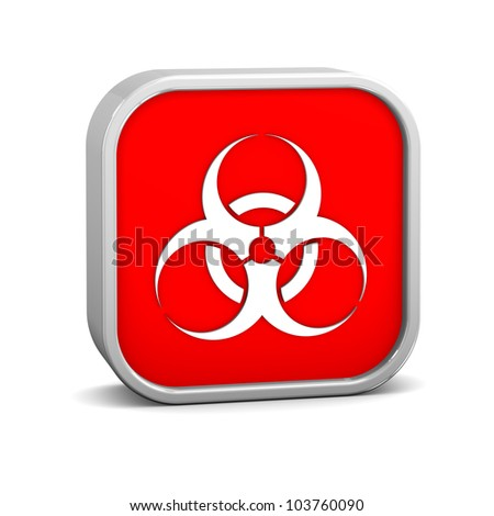 Biohazard sign on a white background. Part of a series. - stock photo