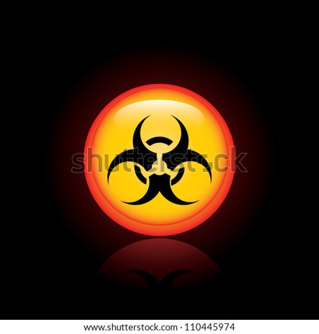 Biohazard sign on black background - stock photo