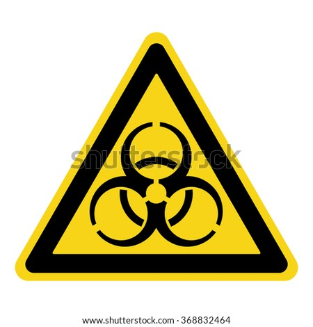 Biohazard Sign. Symbol of biological threat alert. Black hazard emblem isolated in yellow triangle on white background. Danger label. Warning icon. Stock Illustration - stock photo