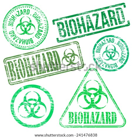 Biohazard stamps. Different shape rubber stamp illustrations  - stock photo