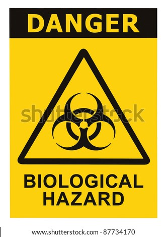 Biohazard symbol sign of biological threat alert, black yellow triangle signage text, isolated macro
