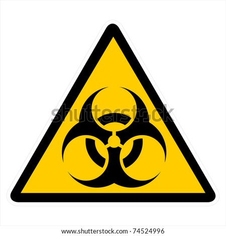 biohazard warning on yellow triangle sign - stock photo
