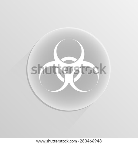 biohazard warning sign or logo on a white button with shadow  - stock photo