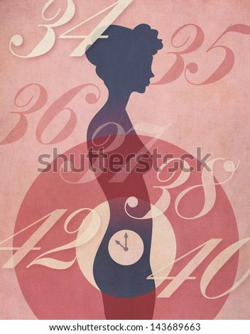 Biological Clock concept. Vintage poster style illustration of woman's silhouette with clock ticking away in her abdomen, surrounded by age numbers. Weathered canvas texture overall.
