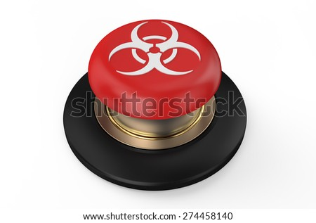 Biological hazard red button isolated on white background - stock photo