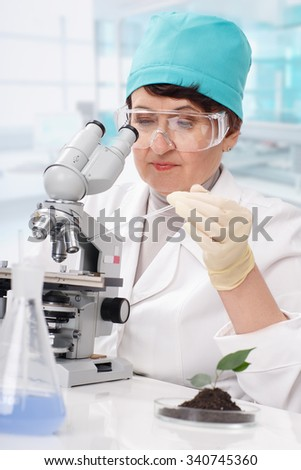 Biologist at work - stock photo