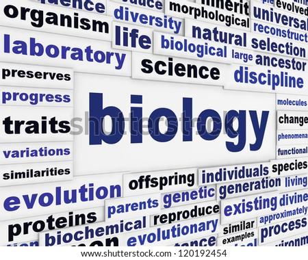 Biology scientific message background. Biological poster design - stock photo