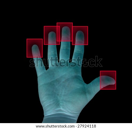 biometric fingerprint concept isolated on black - stock photo