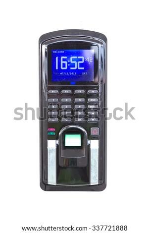 Biometric Keyless Door Lock With Thumb On Scanning Pad. - stock photo