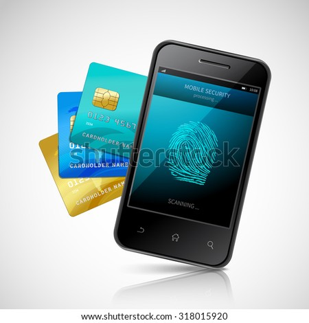 Biometric mobile payment concept with realistic smartphone with fingerprint login application and credit cards set  illustration