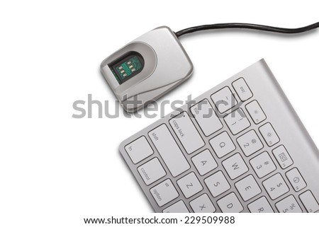Biometrics concept - fingerprint scanner and a keyboard isolated on a white background - stock photo