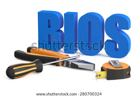 BIOS servise and repair concept isolated on white background - stock photo