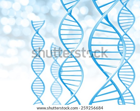 Biotechnology and genetic data concept of helix shaped DNA strings - stock photo