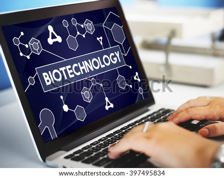 Biotechnology DNA Cell Molecule Experiment Research Concept - stock photo