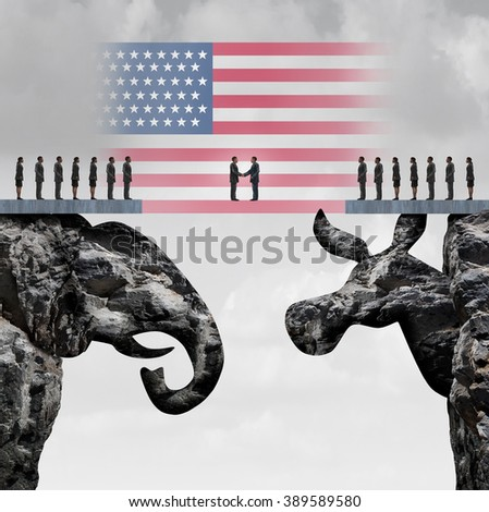 Bipartisan agreement between the republican and democrat organiization as a symbol for a two party system with a flag of the United States connecting two mountain cliffs as an elephant and donkey. - stock photo