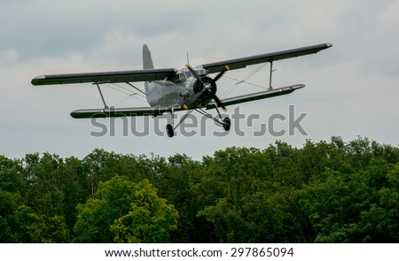 Biplane Approach - stock photo