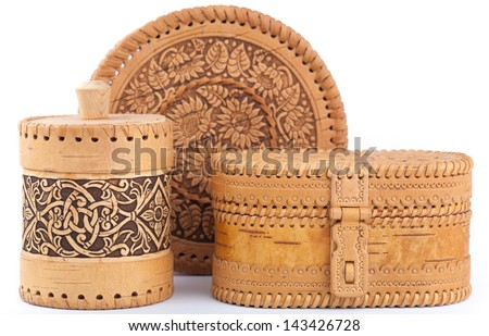 Birch bark boxes isolated on a white - stock photo