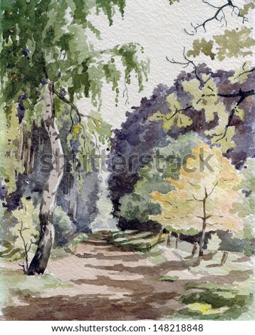 birch in forest, watercolor - stock photo