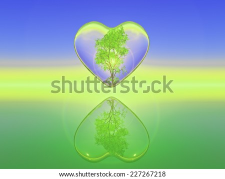 birch tree inside a transparent heart, illustration of nature love