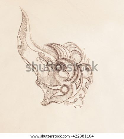 Bird and ornament, original drawing, pencil sketch on paper.  - stock photo