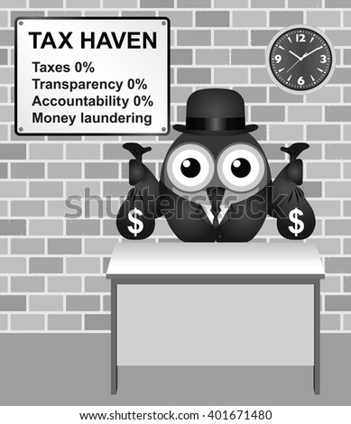 Bird businessman holding bags of money deposited in a tax haven paying no tax and shrouded in secrecy USA version - stock photo