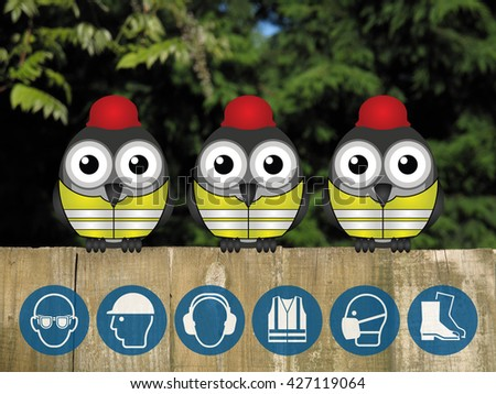 Bird construction workers with construction industry PPE personal protection equipment icons perched on a wooden fence                           - stock photo