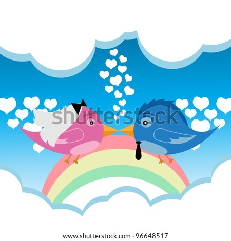 Bird Couple Love - Vector Version Is Also Available