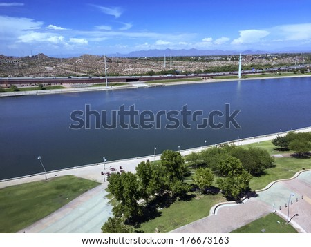 Bird-eye view at Sail River Lake toward northern Phoenix mountain range, Tempe, AZ.