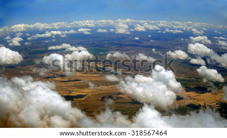 Bird eye view of Arizona desert near Phoenix Metro on a rare cloudy day - stock photo