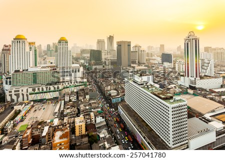 Bird eye view of Bangkok City at sunset - stock photo