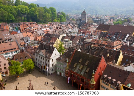 Bird eye view of buildings in Freiburg im Breisgau city, Baden-Wuerttemberg state, Germany - stock photo
