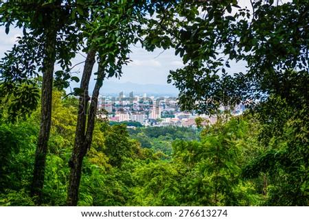 Bird eye view of Chiangmai city, Thailand - stock photo