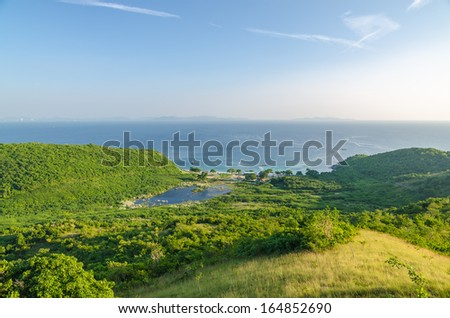 Bird eye view of Nual Beach with ship in sea , Koh Larn, Pattaya, Chonburi, Thailand - stock photo