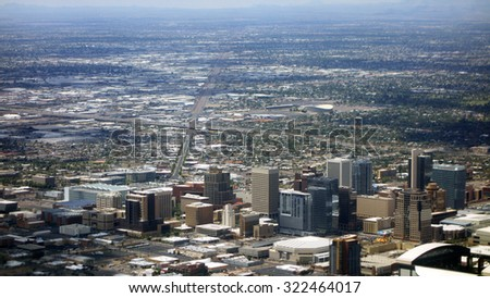 Bird eye view of Phoenix downtown, Arizona capital city