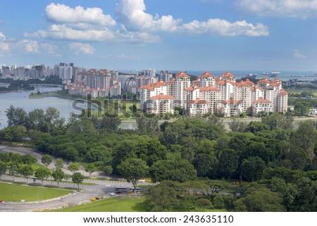 Bird eye view of residential neighborhood on East Coast, Singapore  - stock photo