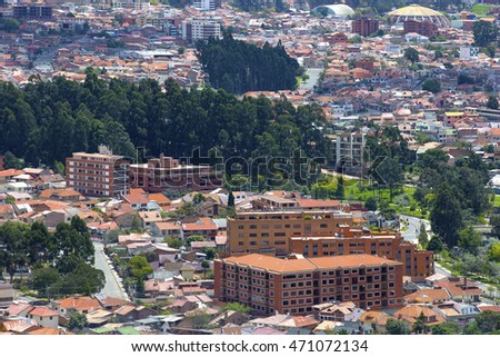 Bird eye view of the red roofs of Cuenca - UNESCO site - Ecuador.