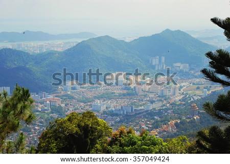 bird eye view the beautiful penang landscape taken from penang hill - stock photo