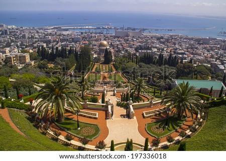 Bird eye View to Haifa's bay and city from Bahai Gardens.Israel  - stock photo
