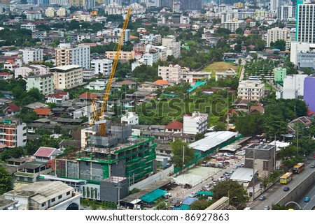 Bird eyes view of building construction in city
