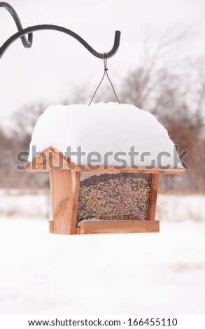 Bird feeder filled up with seeds, covered in heavy snow in winter - stock photo