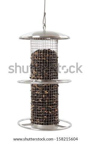Bird feeder, isolated on a white background - stock photo