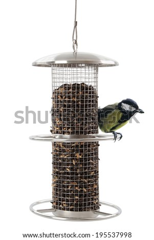 Bird feeder with Great Tit , isolated on a white background - stock photo