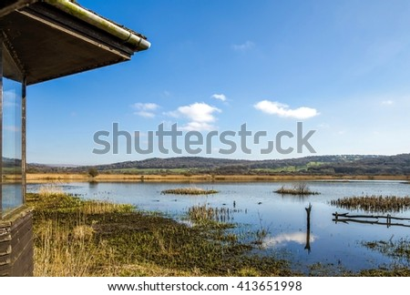 Bird hide, Leighton Moss RSPB, Lancashire, England - stock photo