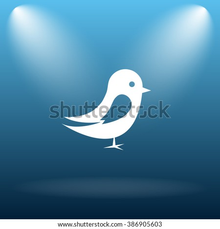 Bird icon. Internet button on blue background.