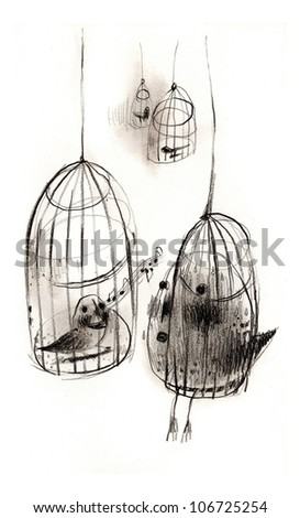 Bird in cage. - stock photo