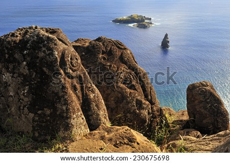 Bird Man Island and Polynesian carvings, Easter Island, Chile - stock photo