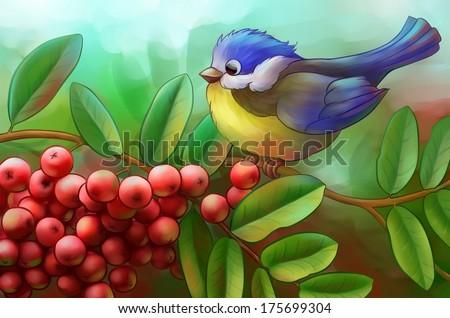 bird on a branch of mountain ash - stock photo