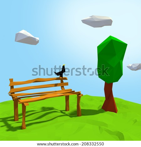 bird on the bench in paper style